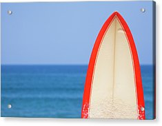 Surfboard By Sea Acrylic Print