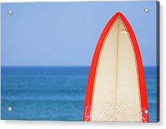 Surfboard By Sea Acrylic Print by Alex Bramwell