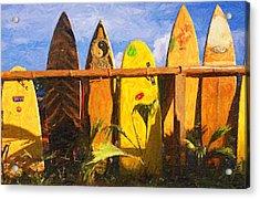 Surfboard Garden Acrylic Print by Ron Regalado