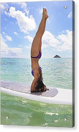 Surfboard Headstand Acrylic Print by Tomas del Amo - Printscapes