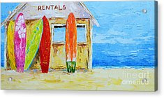 Surf Board Rental Shack At The Beach - Modern Impressionist Palette Knife Work Acrylic Print
