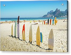 Surfboards On Ipanema Beach, Rio De Janeiro Acrylic Print
