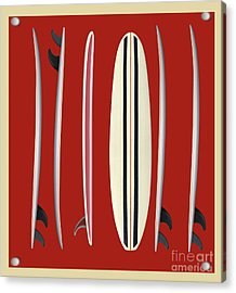 Surfboards Red Square Acrylic Print