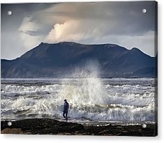Surfer And A Big Wave Acrylic Print