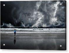 Surfer And An Angry Sky Acrylic Print