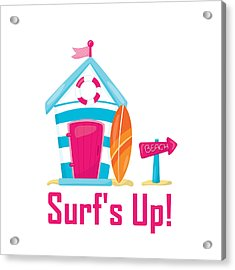 Surfer Art - Surf's Up Cabana House To The Beach Acrylic Print