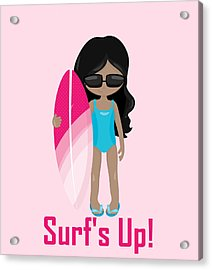 Surfer Art Surf's Up Girl With Surfboard #17 Acrylic Print