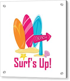 Surfer Art - Surf's Up To The Beach With Surfboards Acrylic Print