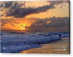 Surfer At Sunset On Kauai Beach With Niihau On Horizon Acrylic Print by Catherine Sherman