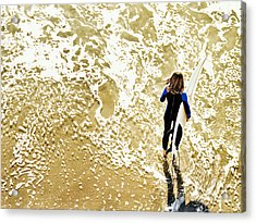 Surfer Girl At Swami's  Acrylic Print