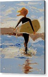 Surfer Girl Acrylic Print by Barbara Andolsek