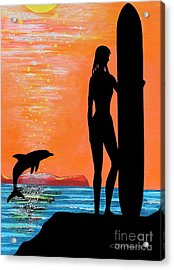 Surfer Girl With Dolphin Acrylic Print