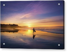 Surfer In Beach At Sunset Acrylic Print