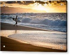 Surfer On Beach Acrylic Print