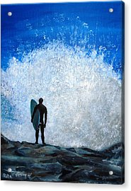 Surfer On Jetty Acrylic Print