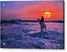 Surfer On Rock Looking Out From Blowing Rocks Preserve On Jupiter Island Acrylic Print