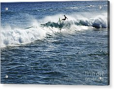 Surfer Riding A Wave Acrylic Print by Brandon Tabiolo - Printscapes