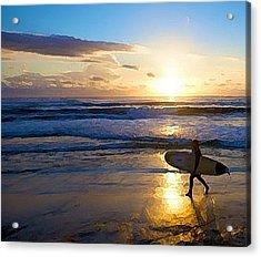 Surfer Sunset Acrylic Print by Deborah Rosier