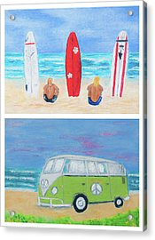 Surfers And Campervan Acrylic Print