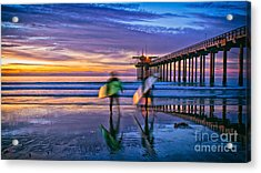 Surfers At Scripps Pier In La Jolla California Acrylic Print
