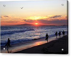 Surfers At Sunset Acrylic Print by Frank Freni