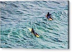 Surfers Acrylic Print by Jera Sky