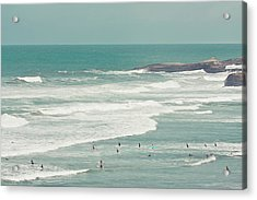 Surfers Lying In Ocean Acrylic Print by Cindy Prins