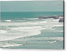 Surfers Lying In Ocean Acrylic Print by Cindy Prins