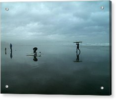 Surfers Stormy Day Acrylic Print