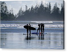 Surfers Suiting Up Acrylic Print