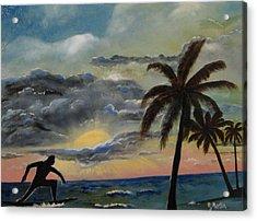 Surfers Sunset Acrylic Print