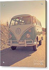 Surfer's Vintage Vw Samba Bus At The Beach 2016 Acrylic Print