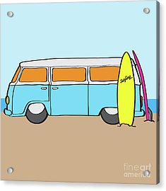 Surfing Australia Vw Kombi Van Acrylic Print by Jorgo Photography - Wall Art Gallery