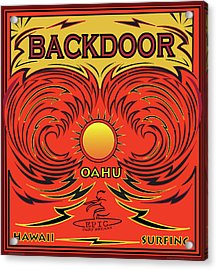Surfing Backdoor Oahu Hawaii Acrylic Print by Larry Butterworth