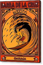 Surfing Barra De La Cruz Mexico Acrylic Print by Larry Butterworth