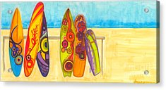 Surfing Buddies - Surf Boards At The Beach Illustration Acrylic Print