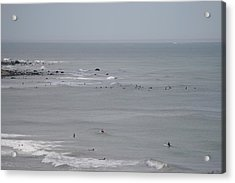 Surfing Ditch Plains Montauk Acrylic Print by Christopher Kirby