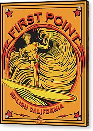 Surfing First Point Malibu California Acrylic Print by Larry Butterworth