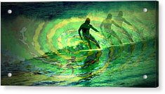 Surfing For The Gold Abstract Acrylic Print