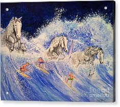 Surfing Horses Acrylic Print