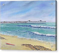 Acrylic Print featuring the painting Surfing In San Clemente by Mary Scott