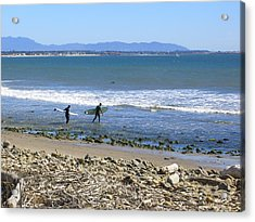 Surfing In Ventura Ca Acrylic Print by Robin Hernandez