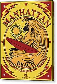 Surfing Manhattan Beach California Acrylic Print by Larry Butterworth