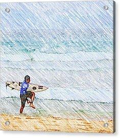 Surfer In Aus Acrylic Print by Daisuke Kondo