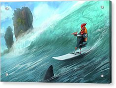 Surfing Rooster Acrylic Print