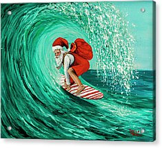 Acrylic Print featuring the painting Surfing Santa by Darice Machel McGuire
