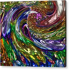 Surfing The Oil Spill Acrylic Print by Alec Drake