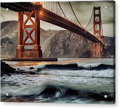Surfing The Shadows Of The Golden Gate Bridge Acrylic Print