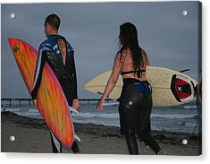 Surfrers Acrylic Print by Brenda Myers