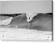 Acrylic Print featuring the photograph Surf's Up Bw by Eddie Yerkish